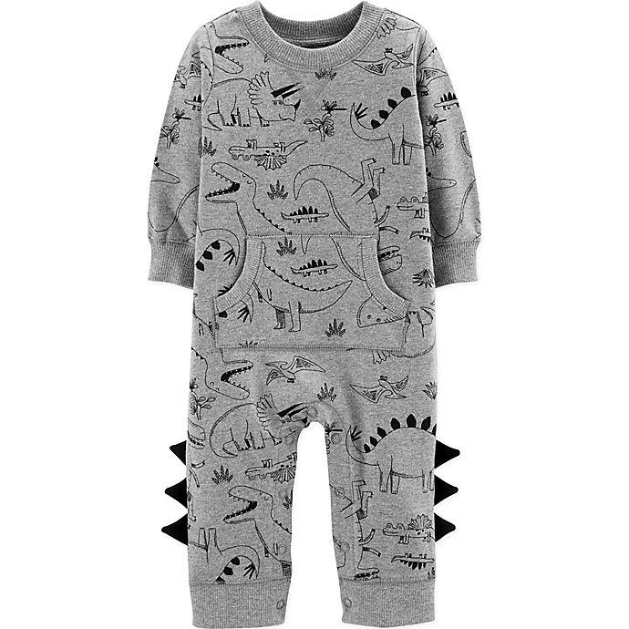 Alternate image 1 for carter's® Dinosaur Coverall in Grey