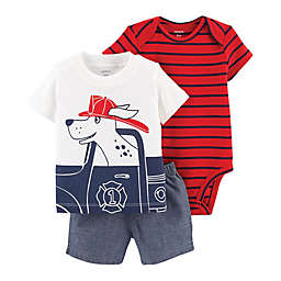 carter's® 3-Piece Firefighter Little Short Set in Red