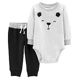 carter's® Embroidered Bear Bodysuit & Pant 2-Piece Set in Grey