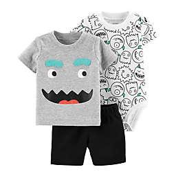 carter's® 3-Piece Monster Little Short Set in Grey