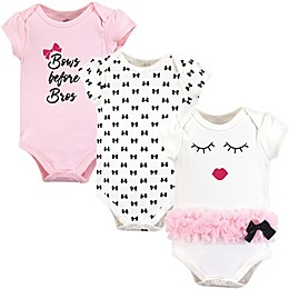 Little Treasure 3-Pack Bows Before Bros Bodysuits in Pink