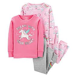 carter's® 4-Piece Unicorn Sleepwear Set in Pink
