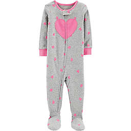 carter's® Zip-Front Heart Footie in Grey
