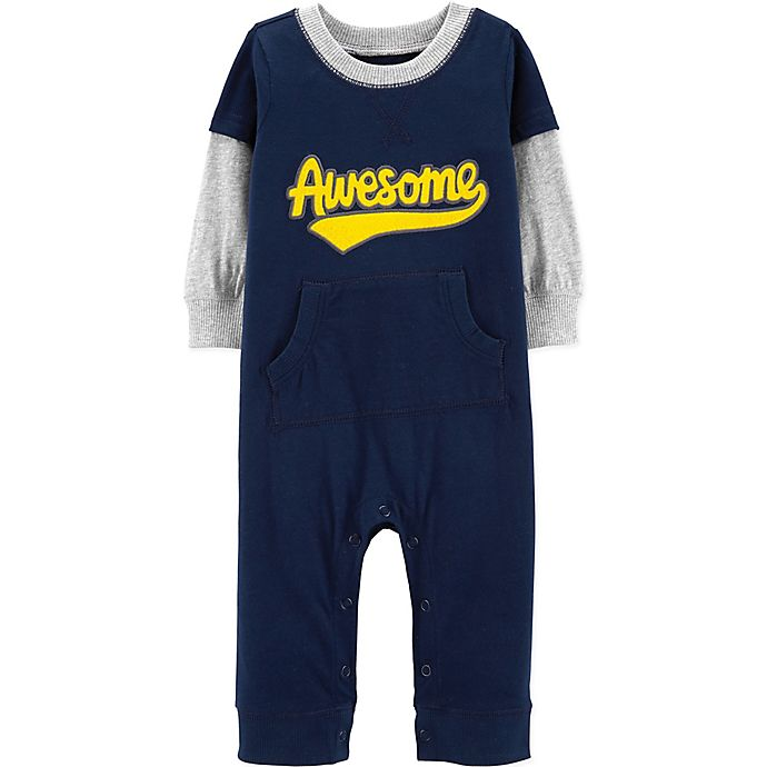 Alternate image 1 for carter's® Awesome Coverall in Navy