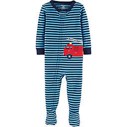 carter's® Firetruck Footed Pajamas in Blue