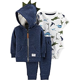 carter's® 3-Piece Dinosaur Cardigan Set in Navy