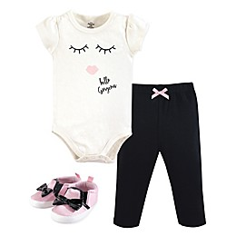 Little Treasures 3-Piece Gorgeous Bodysuit, Pant and Shoe Set in Pink