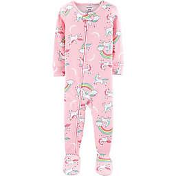 carter's® Zip-Front Unicorn and Rainbows Footie in Pink