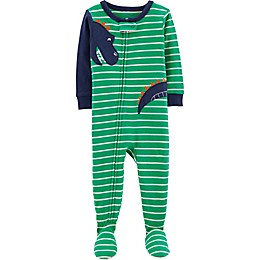 carter's® Striped Dinosaur Footed Pajamas in Green
