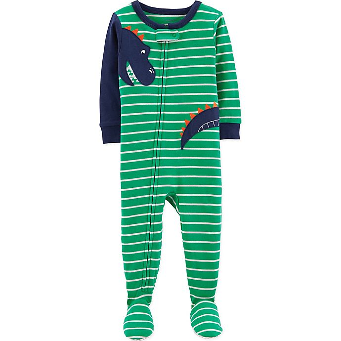 Alternate image 1 for carter's® Striped Dinosaur Footed Pajamas in Green