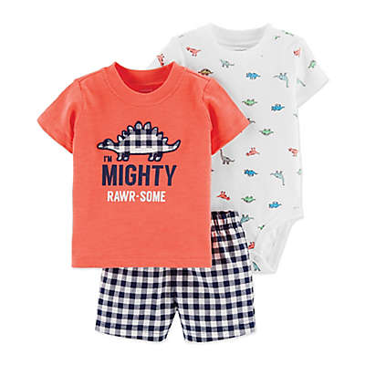 carter's® 3-Piece Dinosaur Little Short Set in Orange/White