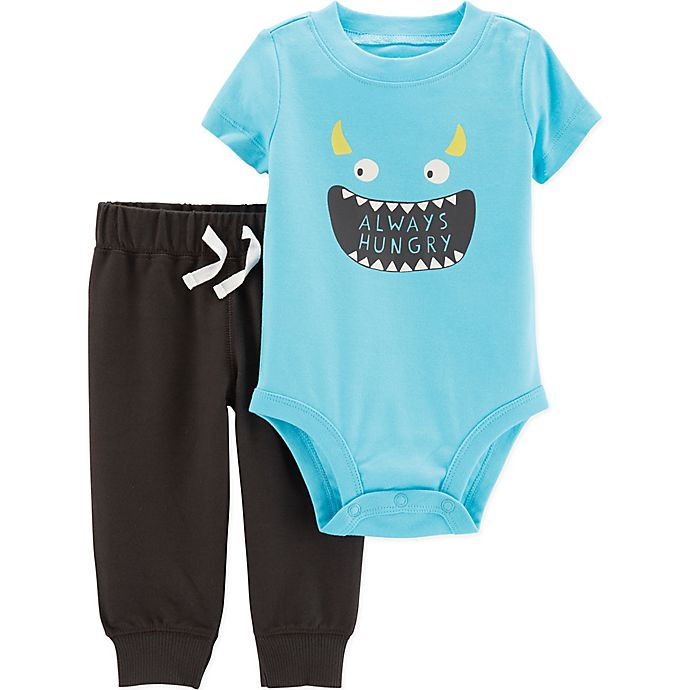 Alternate image 1 for carter's® 2-Piece Monster Face Bodysuit and Pants Set in Blue