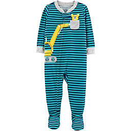 carter's® Striped Construction Footed Pajamas in Teal