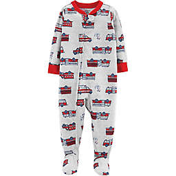 carter's® Firetruck Rescue Footed Pajamas in Grey