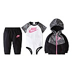 Nike Size 0-6M 3-Piece Bodysuit, Hoodie and Pant Set in Black/Pink
