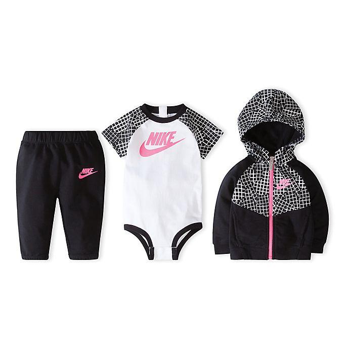 6c6051ab Nike Size 0-6M 3-Piece Bodysuit, Hoodie and Pant Set in Black/Pink ...