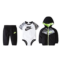 Nike® Size 0-6M 3-Piece Futura Bodysuit, Hoodie, and Pant Set in Black