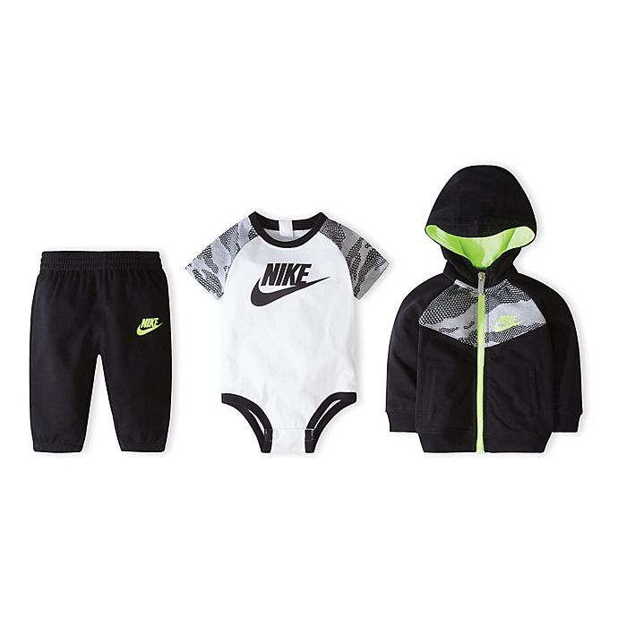 Alternate image 1 for Nike® Size 0-6M 3-Piece Futura Bodysuit, Hoodie, and Pant Set in Black