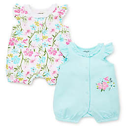 Little Me® 2-Pack Floral Rompers in Mint