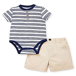 Little Me® 2-Piece Striped Short Set in Navy