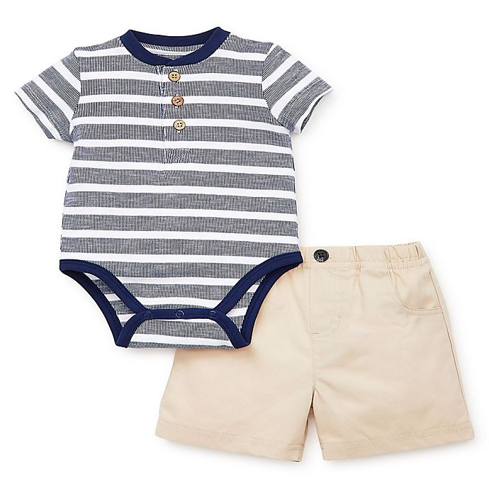 Alternate image 1 for Little Me® 2-Piece Striped Short Set in Navy