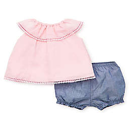 Little Me® 2-Piece Eyelet Tunic and Short Set in Pink