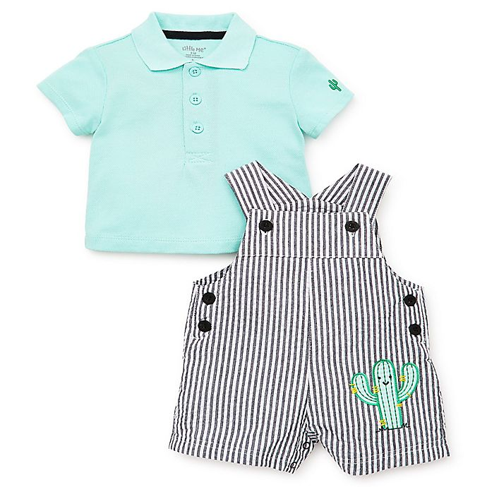 Alternate image 1 for Little Me® 2-Piece Cactus Shortalls Set in Grey