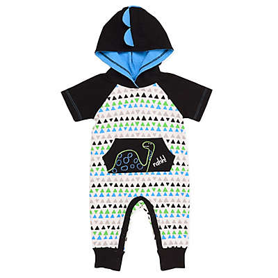 Baby Starters® Dinosaur Hooded Coverall in White/Black
