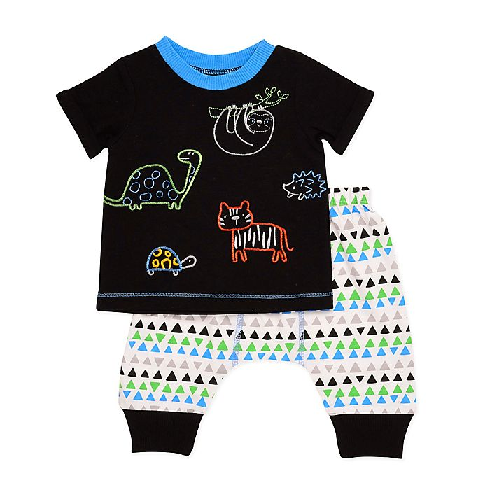 Alternate image 1 for Baby Starters Let's Hang Embroidered 2-Piece Pant Set in Black