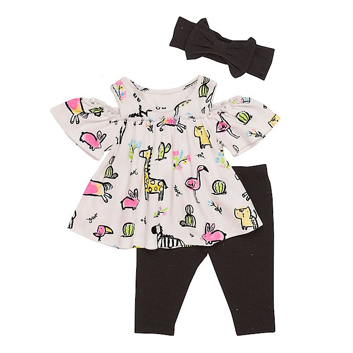 Alternate image 1 for Baby Starters® 3-Piece Cold Shoulder Top, Legging, and Headband Set in White