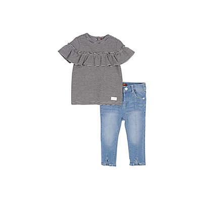 7 For all Mankind® 2-Piece Stripe Top and Jean Set in Black