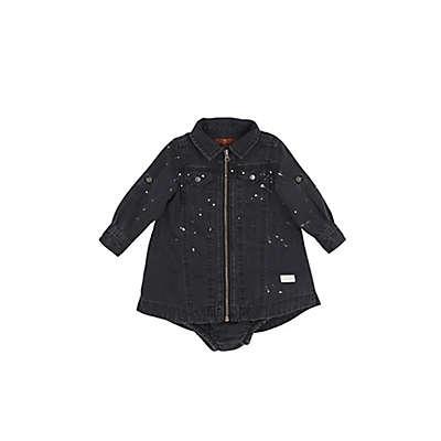 7 For all Mankind® Zip Front Denim Dress in Vintage Noir