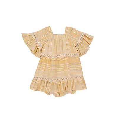 Jessica Simpson Stripe Ruffle Dress in Sand