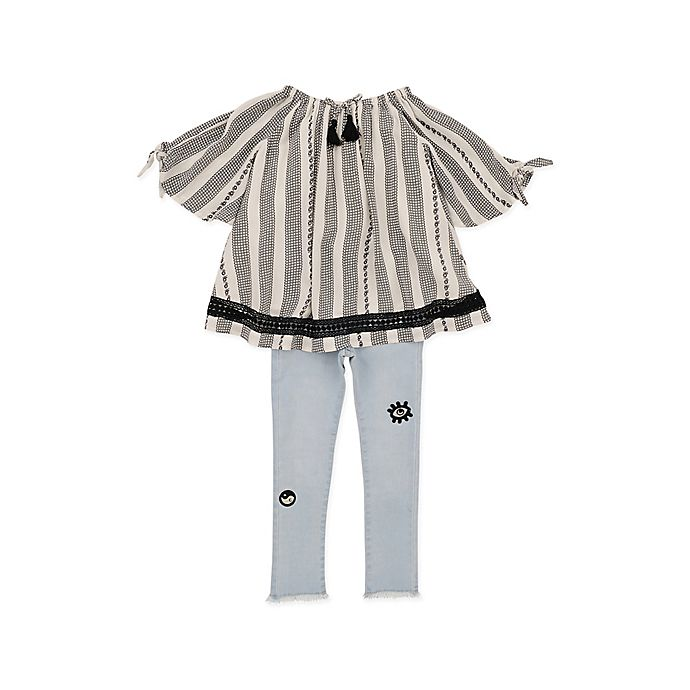 Alternate image 1 for Jessica Simpson Size 3T 2-Piece Striped Top and Jean Set in Cream