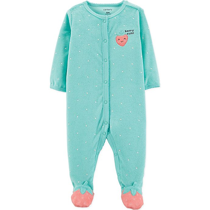 Alternate image 1 for carter's® Strawberry Terry Sleep and Play Footie in Turquoise