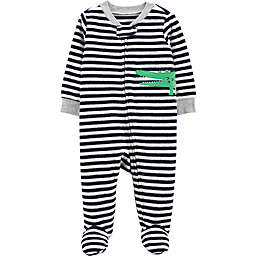carter's® Alligator Terry Striped Sleep & Play in Black/White