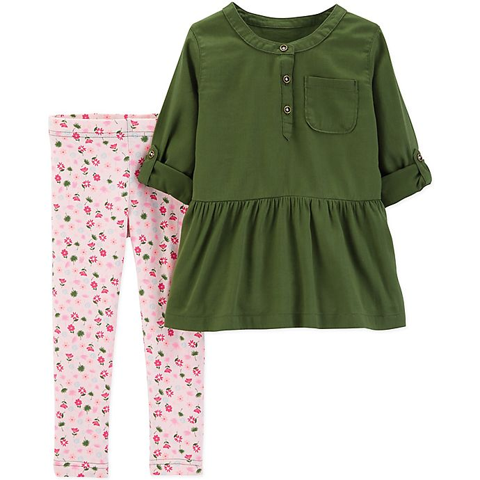 Alternate image 1 for carter's® Size 18M 2-Piece Rose Top and Legging Set in Olive