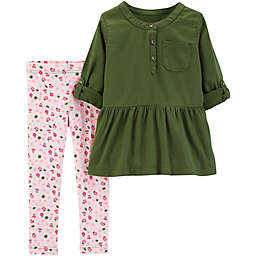 carter's® 2-Piece Rose Top and Legging Set in Olive