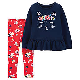 carter's® 2-Piece Kitty Top and Pant Set in Navy