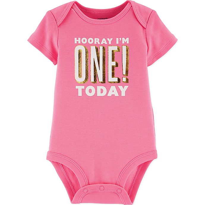 Alternate image 1 for carter's® Birthday Bodysuit in Pink