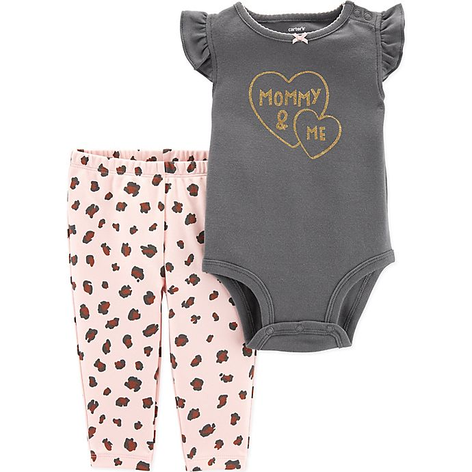 Alternate image 1 for carter's® Size 12M 2-Piece Mommy Cheetah Bodysuit Pant Set in Black