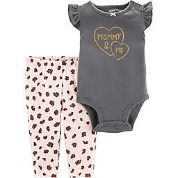 carter's® 2-Piece Mommy Cheetah Bodysuit Pant Set in Black