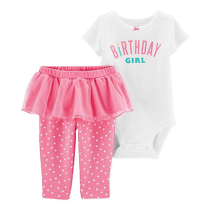 Alternate image 1 for carter's® 2-Piece Birthday Bodysuit Pant Set in Pink