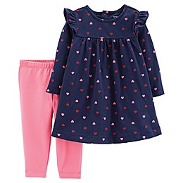 carter's® 2-Piece Heart Dress Legging Set in Navy