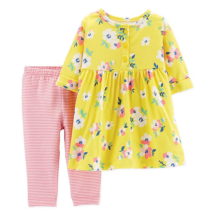 Alternate image 1 for carter's® 2-Piece Floral Henley Dress Legging Set in Yellow