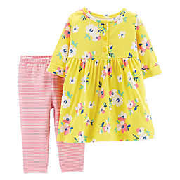 carter's® 2-Piece Floral Henley Dress Legging Set in Yellow
