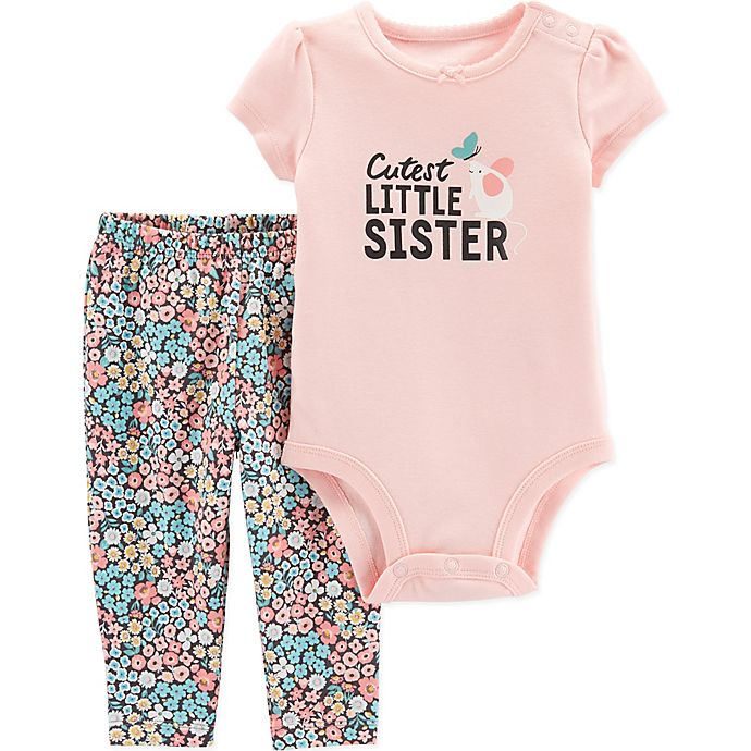 Alternate image 1 for carter's® Size 12M 2-Piece Little Sister Bodysuit Pant Set in Pink