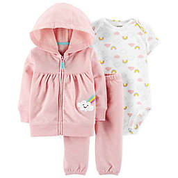 carter's® 3-Piece Rainbow Cardigan, Bodysuit and Pant Set in Pink