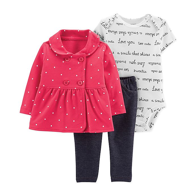 Alternate image 1 for carter's® 3-Piece Peplum Cardigan, Bodysuit and Pant Set in Red