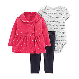 carter's® 3-Piece Peplum Cardigan, Bodysuit and Pant Set in Red
